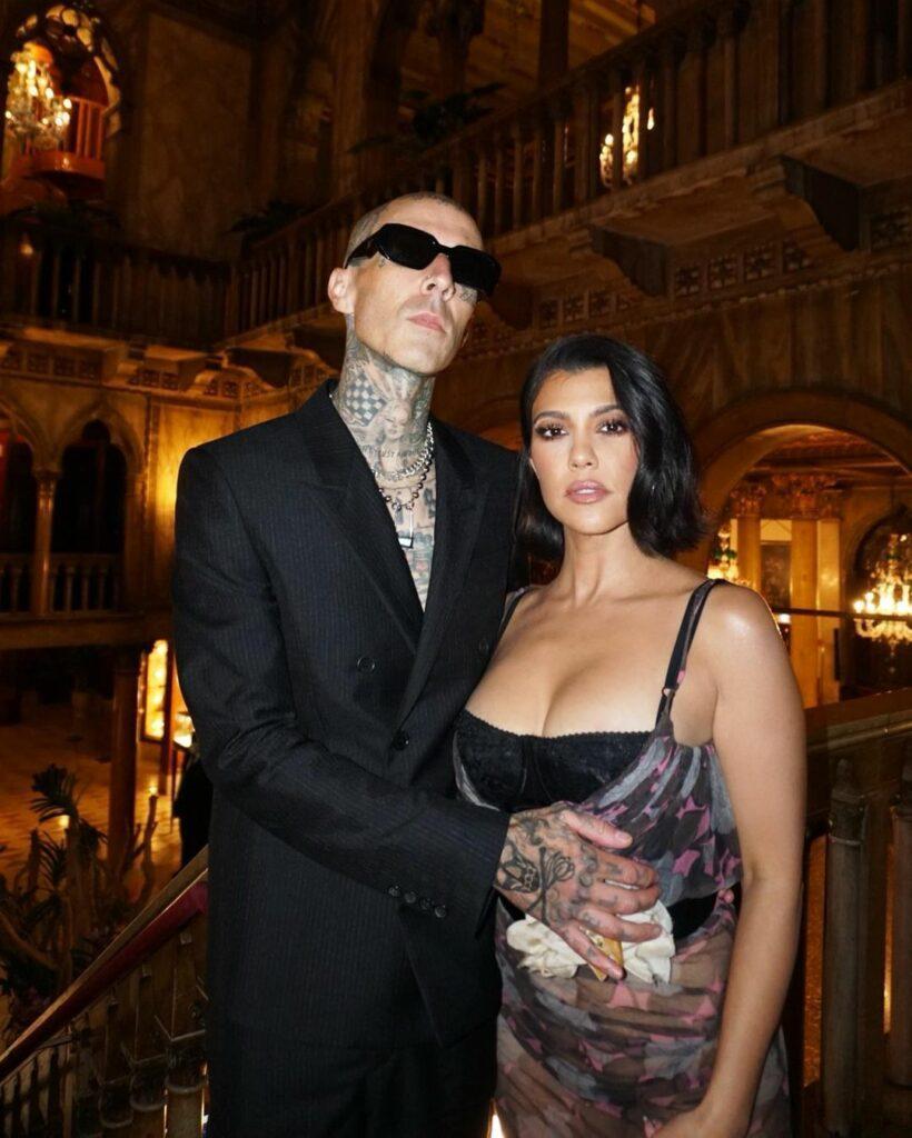 Kourtney Kardashian and Travis Barker before the D&G show.