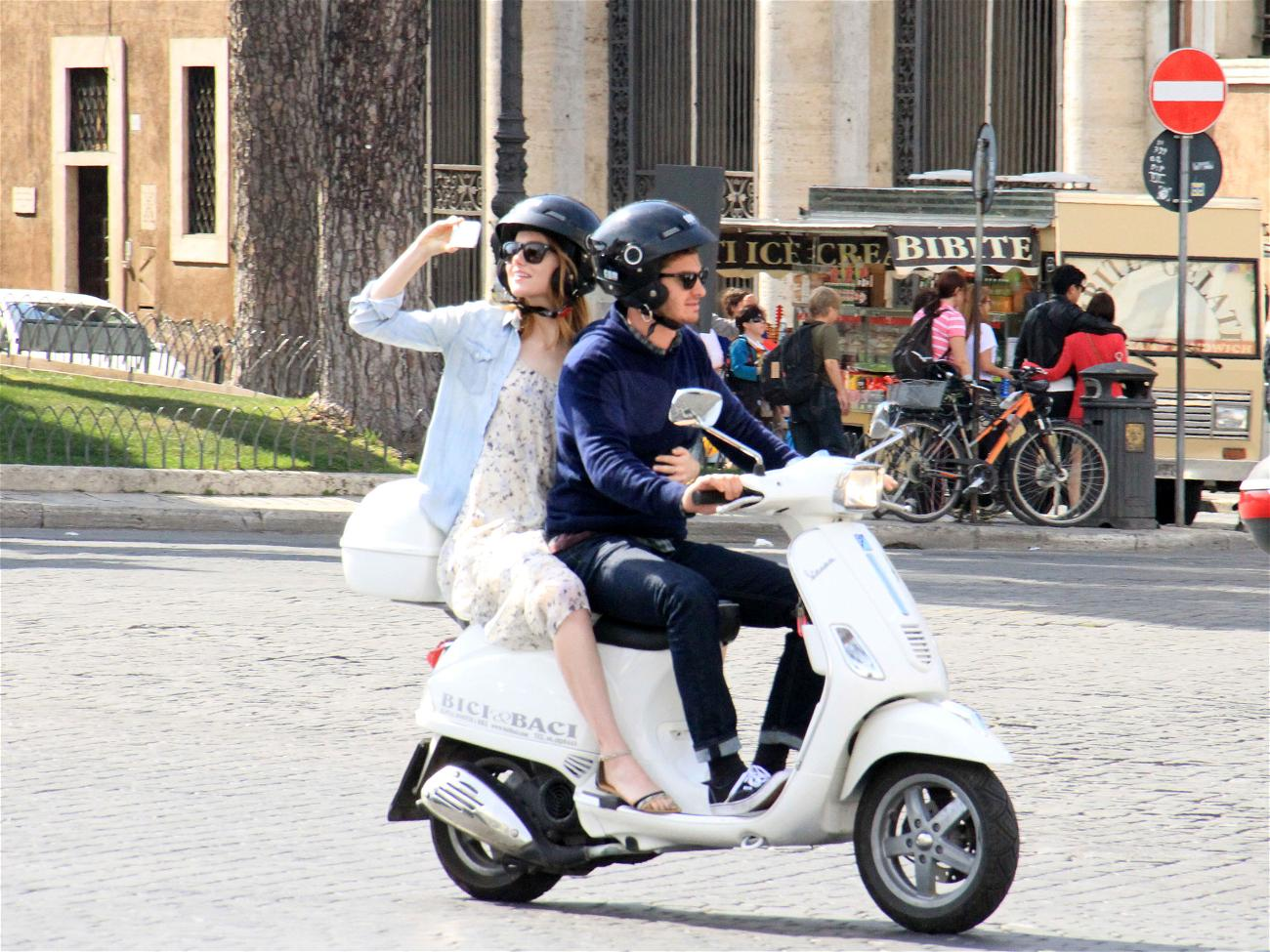 Emma Stone and her boyfriend Andrew Garfield spotted enjoying some romantic alone time on a scooter in Rome