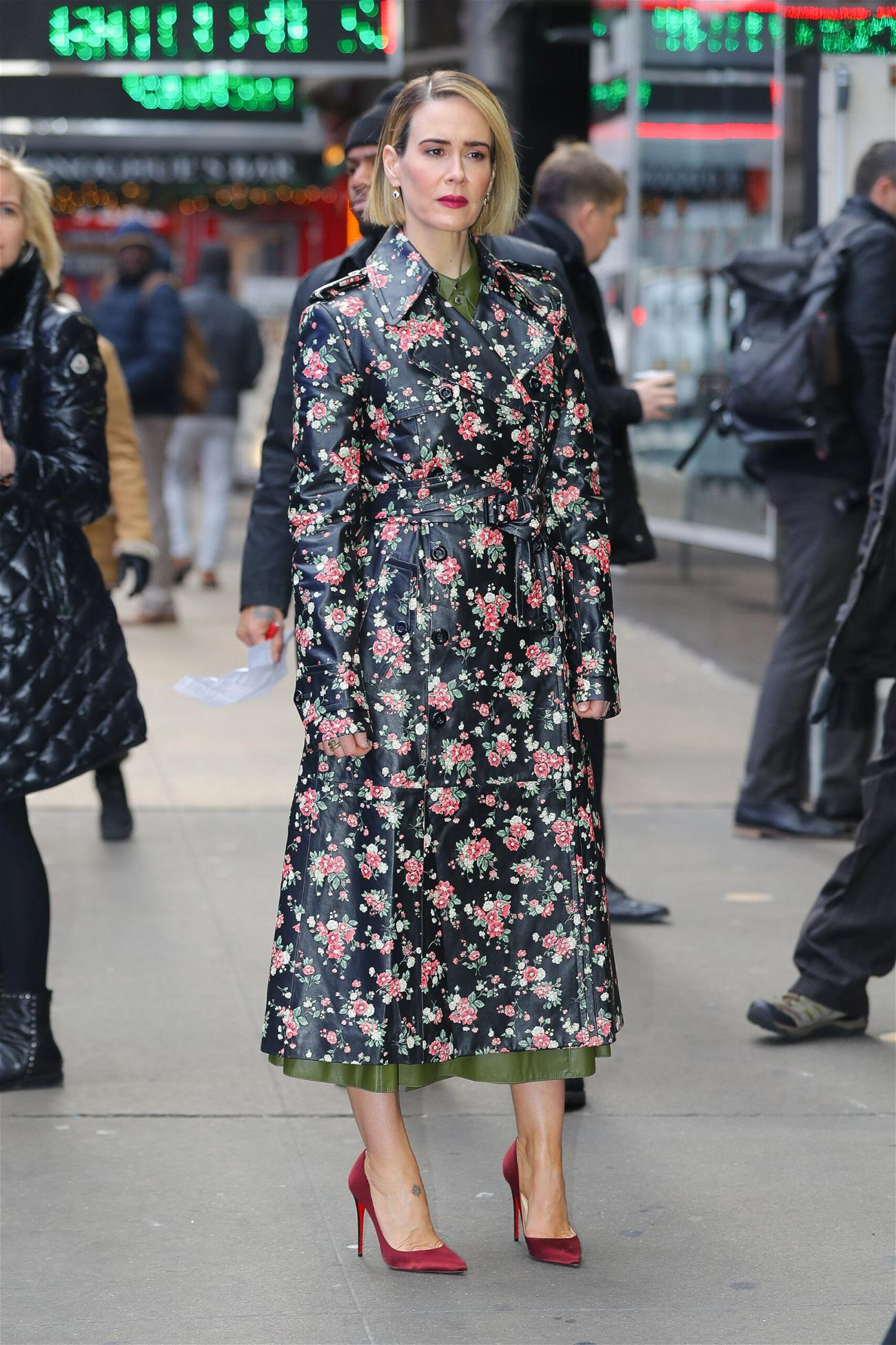Sarah Paulson wore a floral Michael Kors Trench Coat while leaving the Good Morning America on Thursday Morning in NYC
