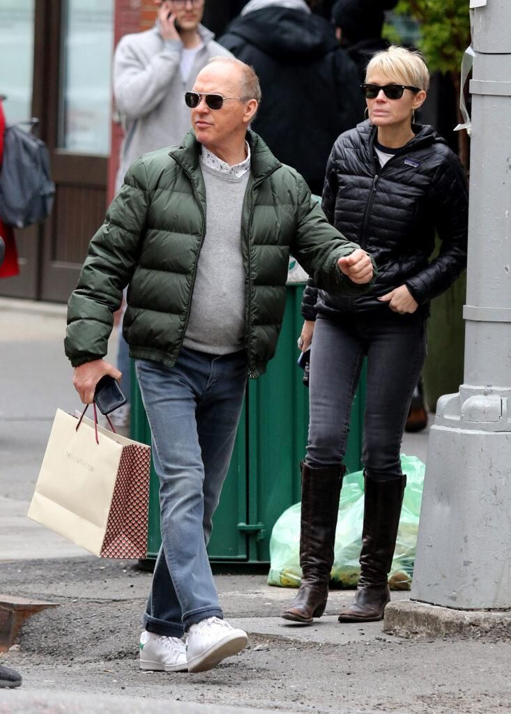 Michael Keaton is seen hailing a cab and shopping with unidentified female companion in New York City