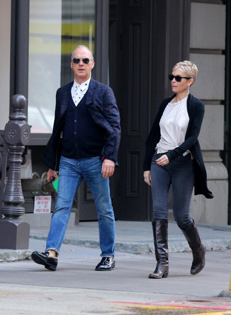 Michael Keaton and girlfriend go out for dinner in New York City
