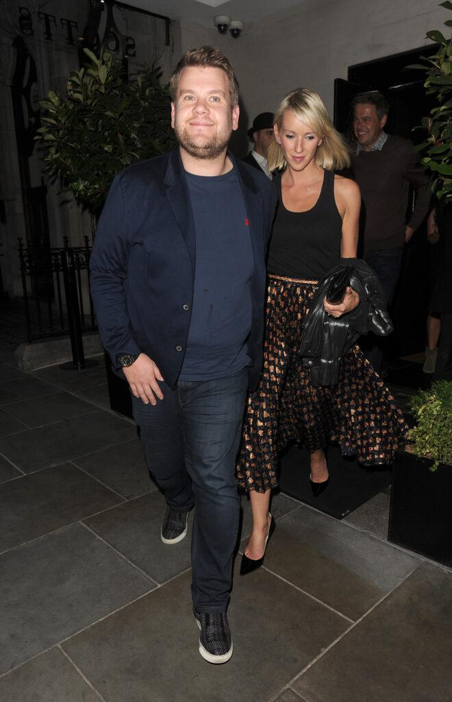 James Corden enjoys a long dinner with his wife Julia Carey at Scott apos s seafood restaurant in Mayfair The couple were joined by entrepreneur and star of TV show apos Dragon apos s Den apos Peter Jones and his partner Tara Capp