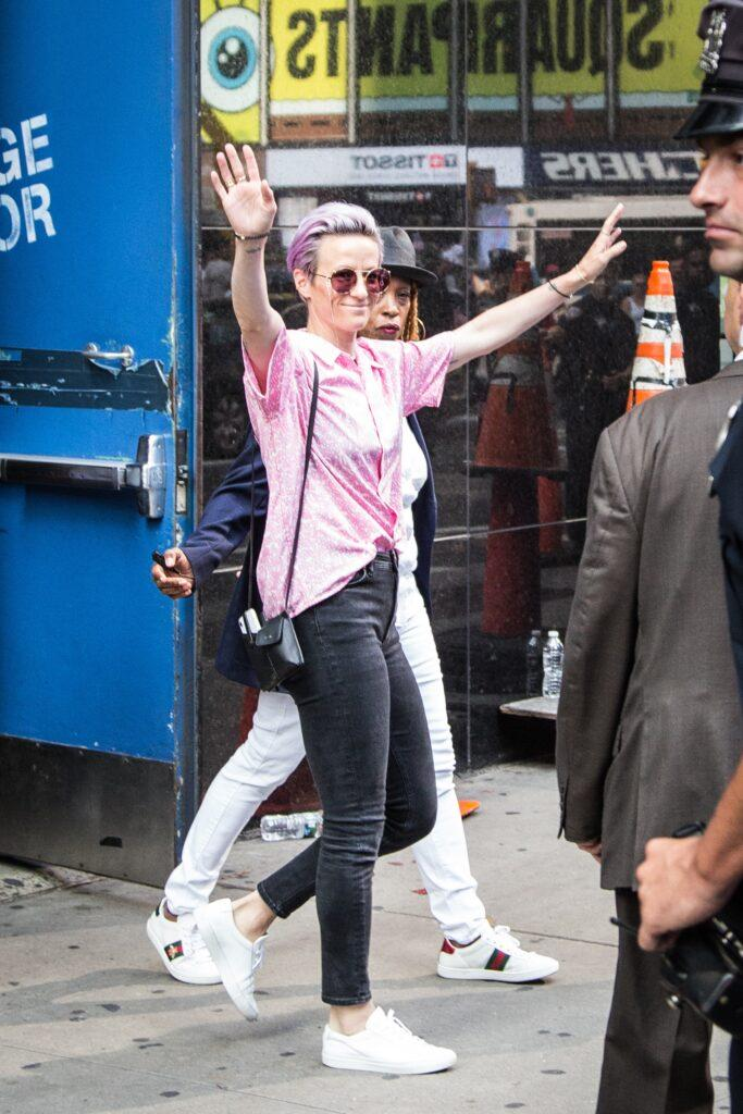 Some United States Women apos s National Soccer Team players are seen outside Good Morning America