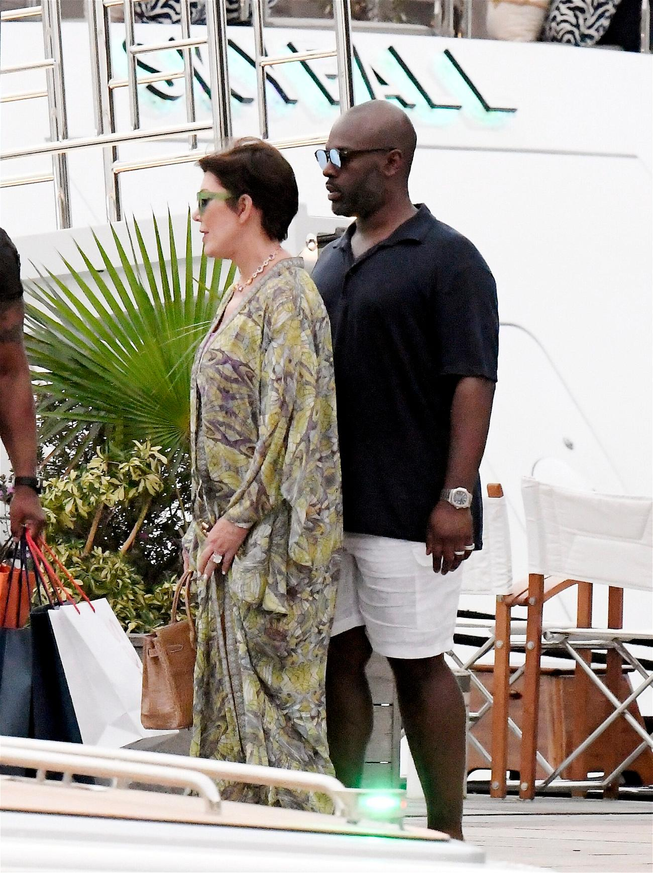 Kris Jenner and Corey Gamble seen enjoying the day in the sun in St Barths