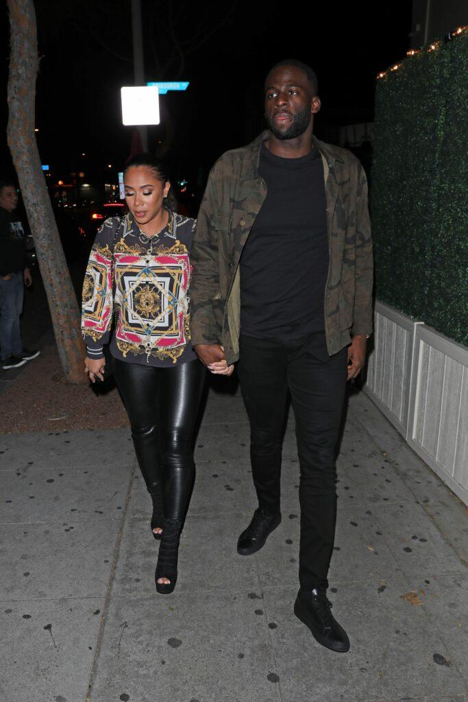 Draymond Green and Hazel Renee grab dinner at Delilah restaurant with friend Stephen Curry