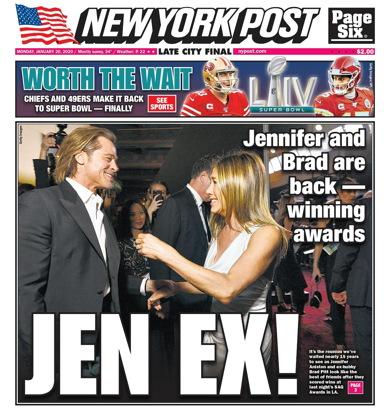NY Post cover for Monday January 20 2020