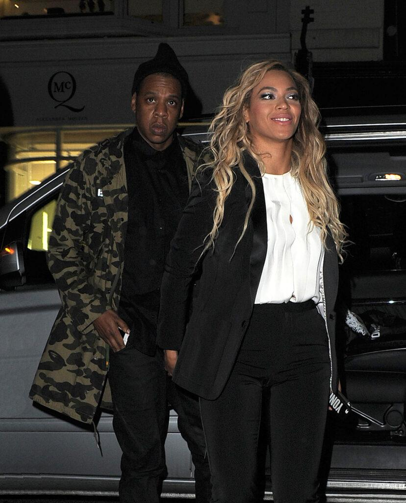 Beyonce Knowles and her husband Jay Z are seen arriving at The Arts Club in Mayfair