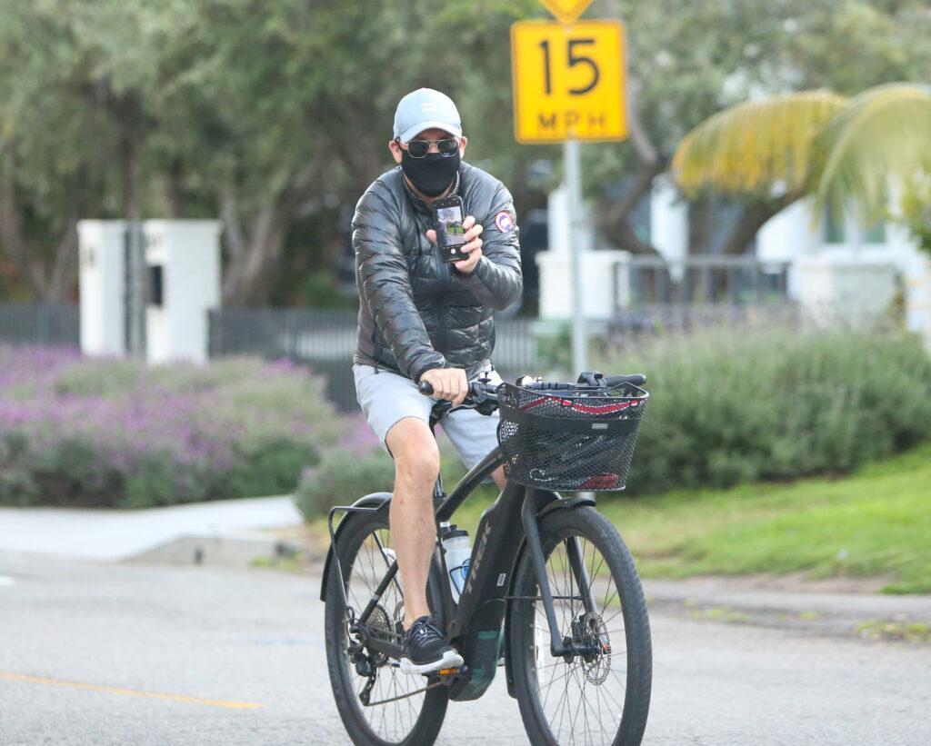 Michael Keaton rides his bike in LA