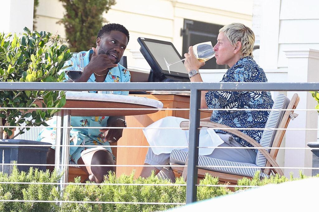 Ellen DeGeneres seen having lunch with Kevin Hart at the Rosewood Miramar in Montecito CA
