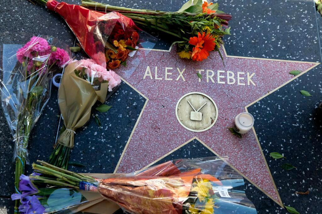 Flowers placed at Alex Trebek Star