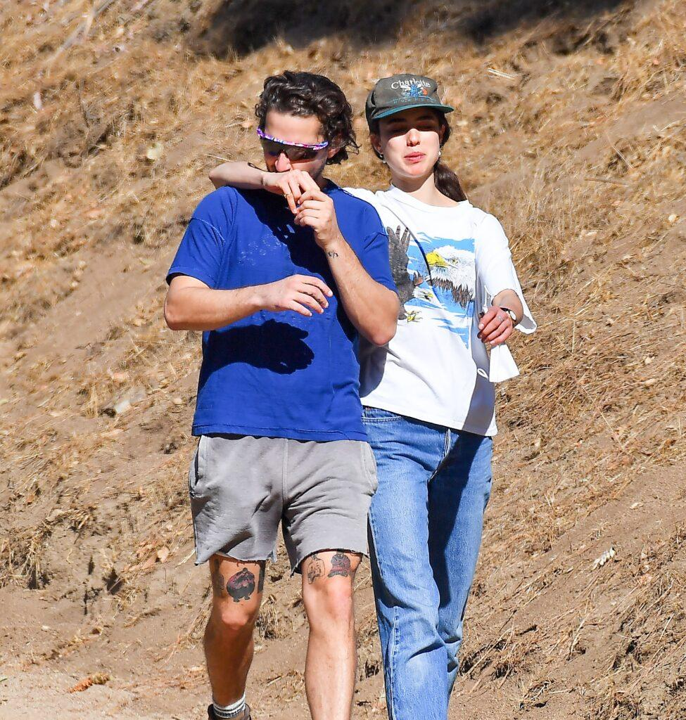 Shia LaBeouf heads out on a shirtless hike with his girlfriend Margaret Qualley in Los Angeles