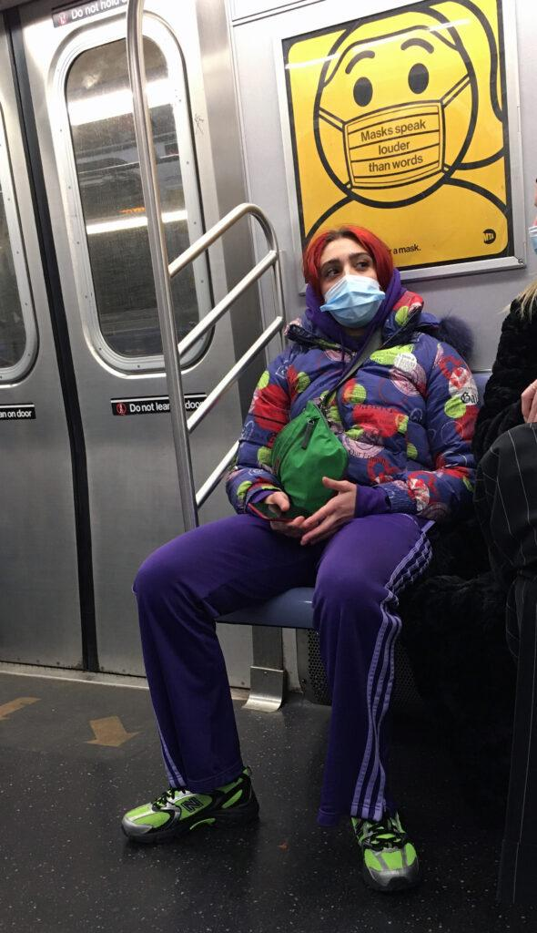 Lourdes Leon sports red hair and a colorful outfit while taking a train ride to Brooklyn in NYC