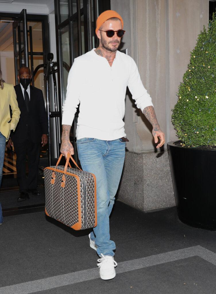 Victoria Beckham and David Beckham were spotted leaving The Mark Hotel in NYC heading to the Airport