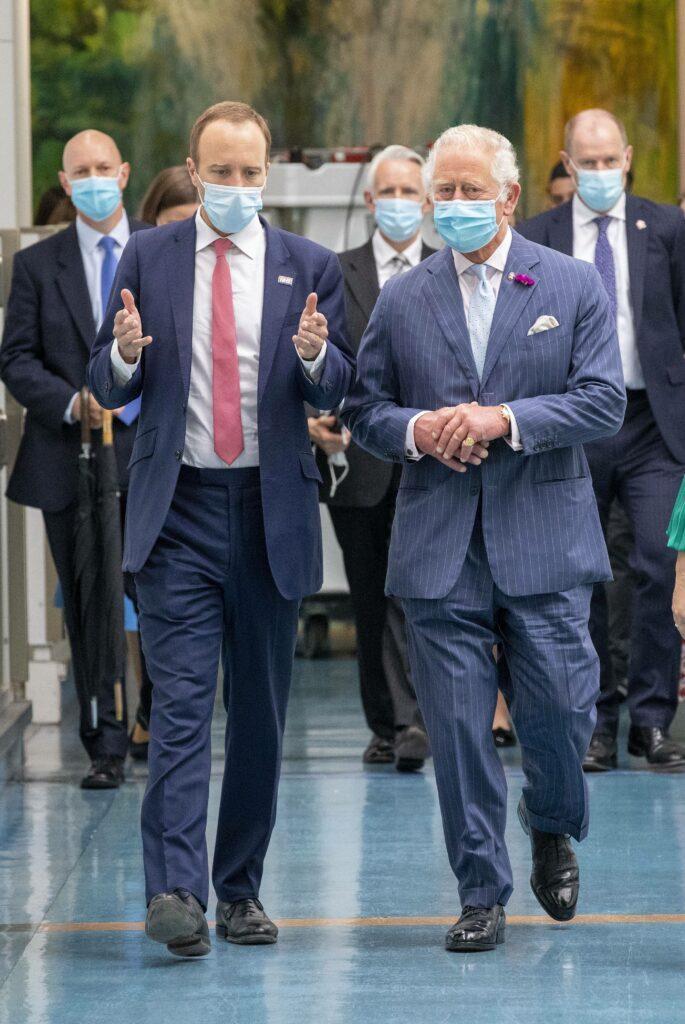 Prince Charles HRH Prince of Wales with Health secretary Matt Hancock meeting NHS staff