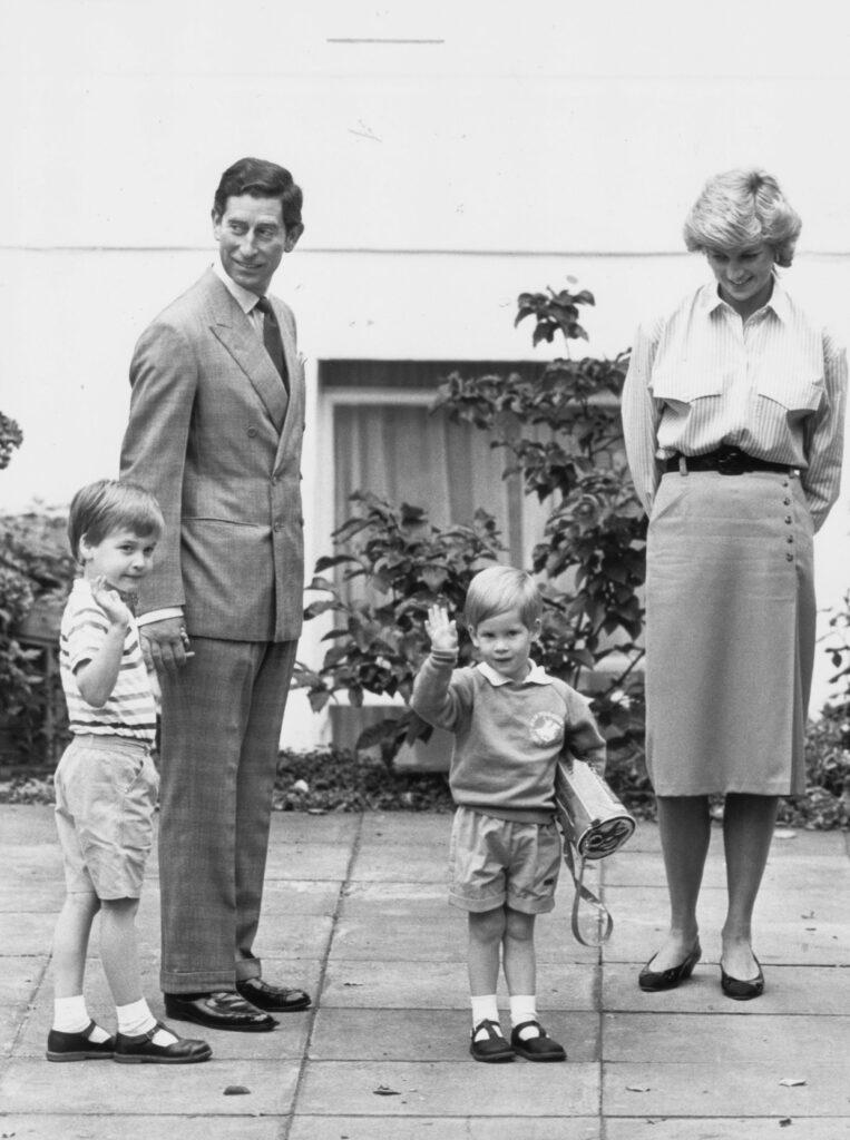 Prince Charles and Princess Diana with their children Prince William left and Prince Harry right