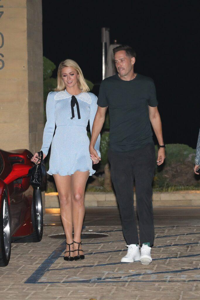 Paris Hilton and Carter Reum are all smiles as they grab dinner at Nobu Malibu