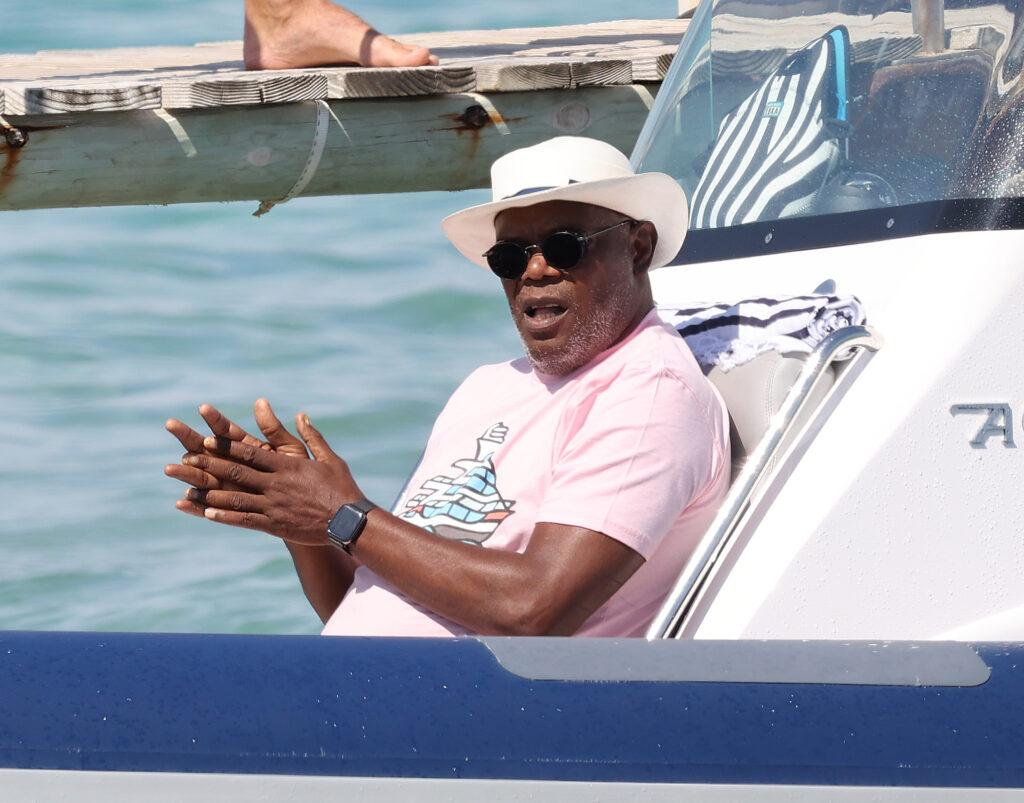 Magic Johnson and Samuel L Jackson at the Club 55 for lunch in St Tropez