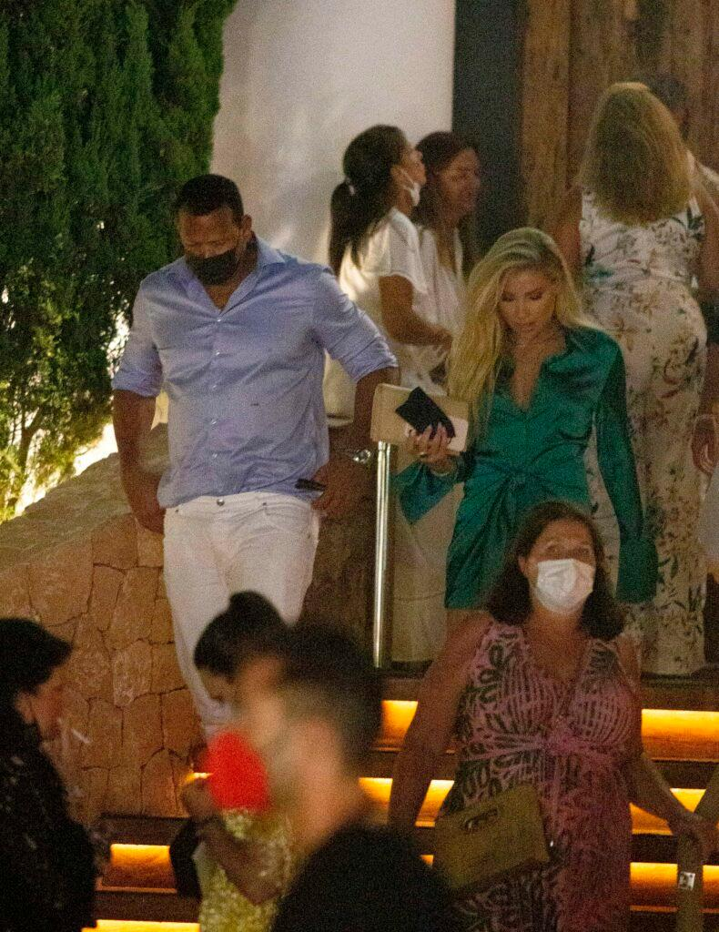 Alex Rodriguez and Melanie Collins party and dinner together in Ibiza