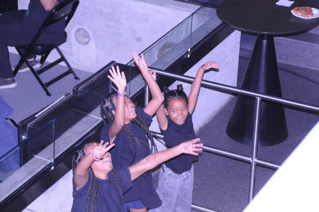 Kim Kardashian and her children support Kanye West at his album launch party in Atlanta