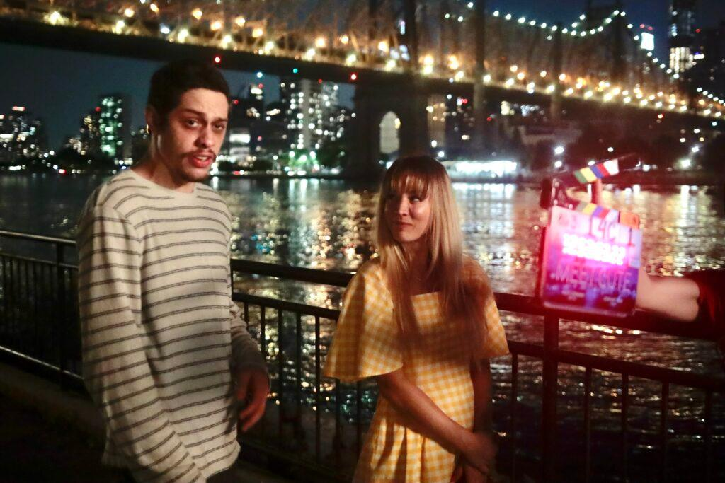 Pete Davidson and Kaley Cuoco filming Meet Cute