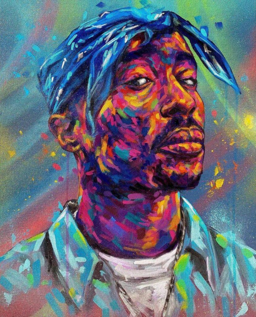 A photo art showing Tupac Shakur's face.