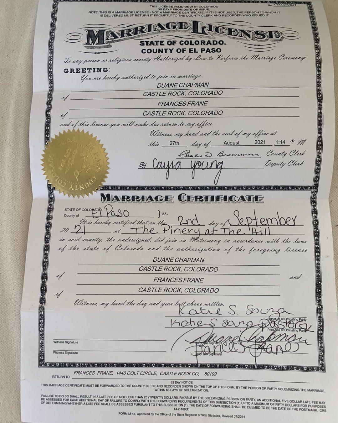 Dog The Bounty Hunter Shows Off His New Marriage License, 'It's Official!'