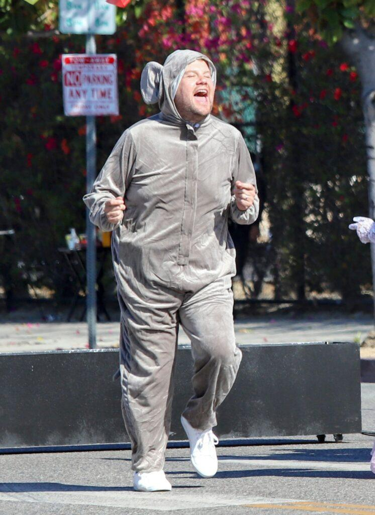 James Corden in a mouse costume