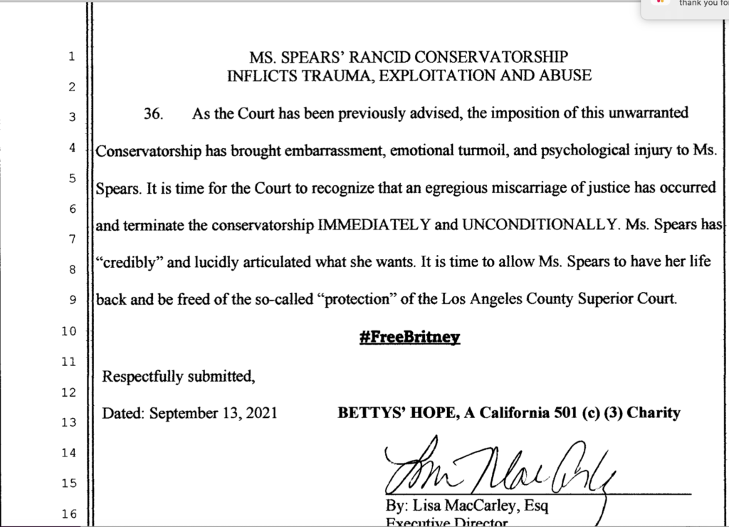 Betty's Hope Legal Document which states #FreeBritney