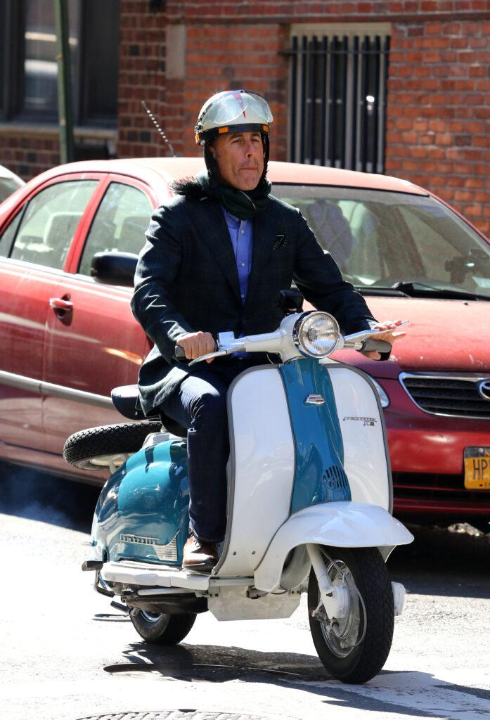 Jerry Seinfeld rides Vespa scooter while filming quot Comedians in Cars Getting Coffee quot in New York City