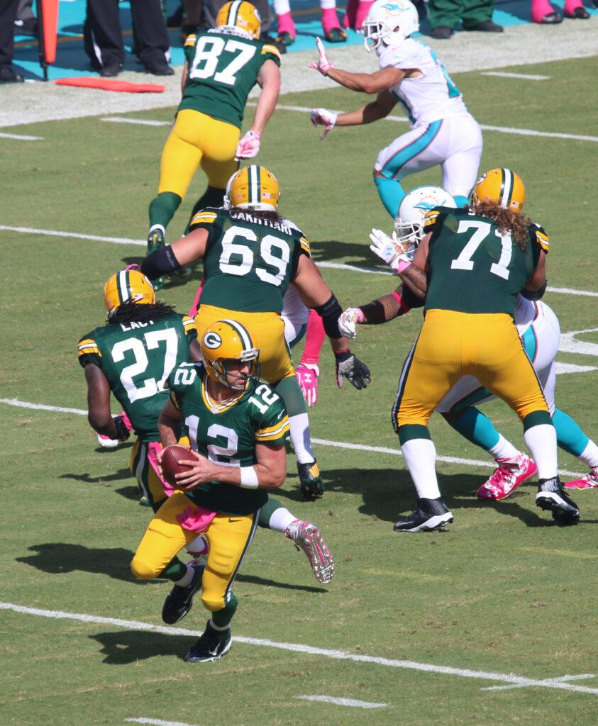 File photos of Green Bay Packers star Aaron Rodgers