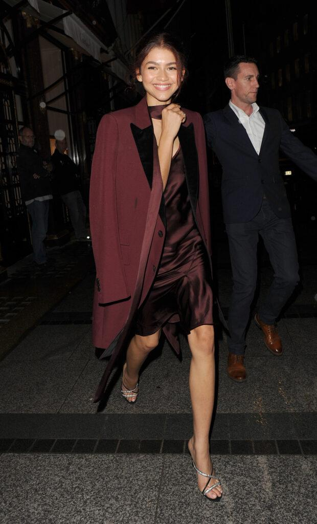 Tom Holland Jake Gyllenhaal Zendaya and Vanessa Kirby leaving the Cartier store on Old Bond Street having attended a private dinner as part of promotion for their new Spider-Man movie