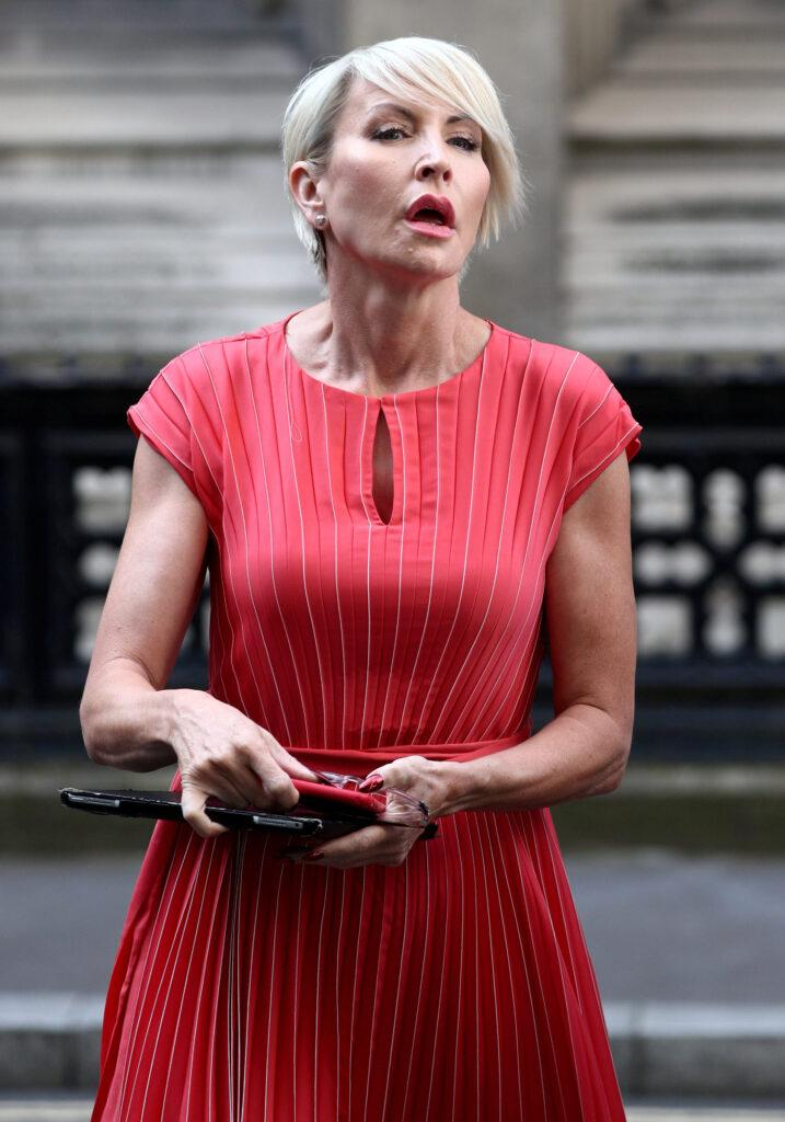 Heather Mills is seen outside the High Court where she is expecting to receive a public apology from News Group Newspapers after bringing a claim of phone hacking July 8 2019