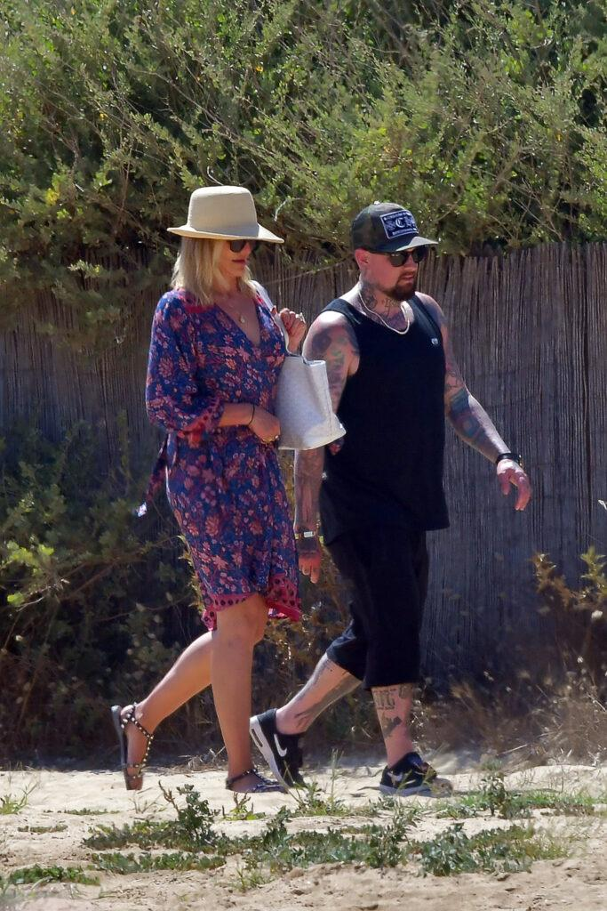Cameron Diaz and Benji Madden strolling during holiday in St Tropez