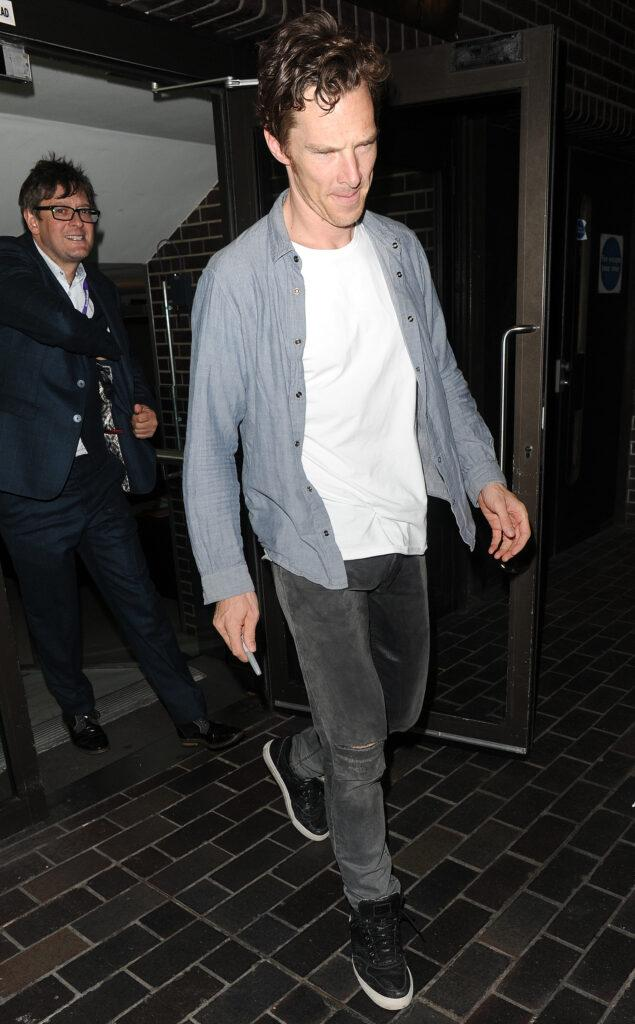 Benedict Cumberbatch leaving the Barbican Theatre having appeared in a performance of Hamlet