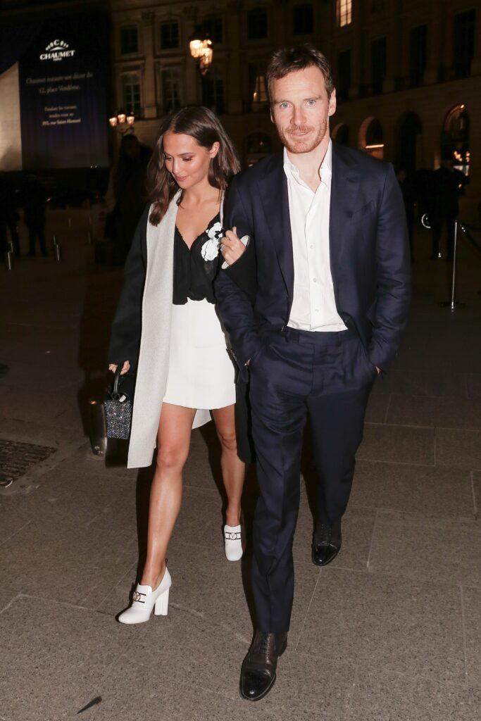 Michael Fassbender and Alicia Vikander leaving Louis Vuitton dinner during the Paris Fashion Week 2020