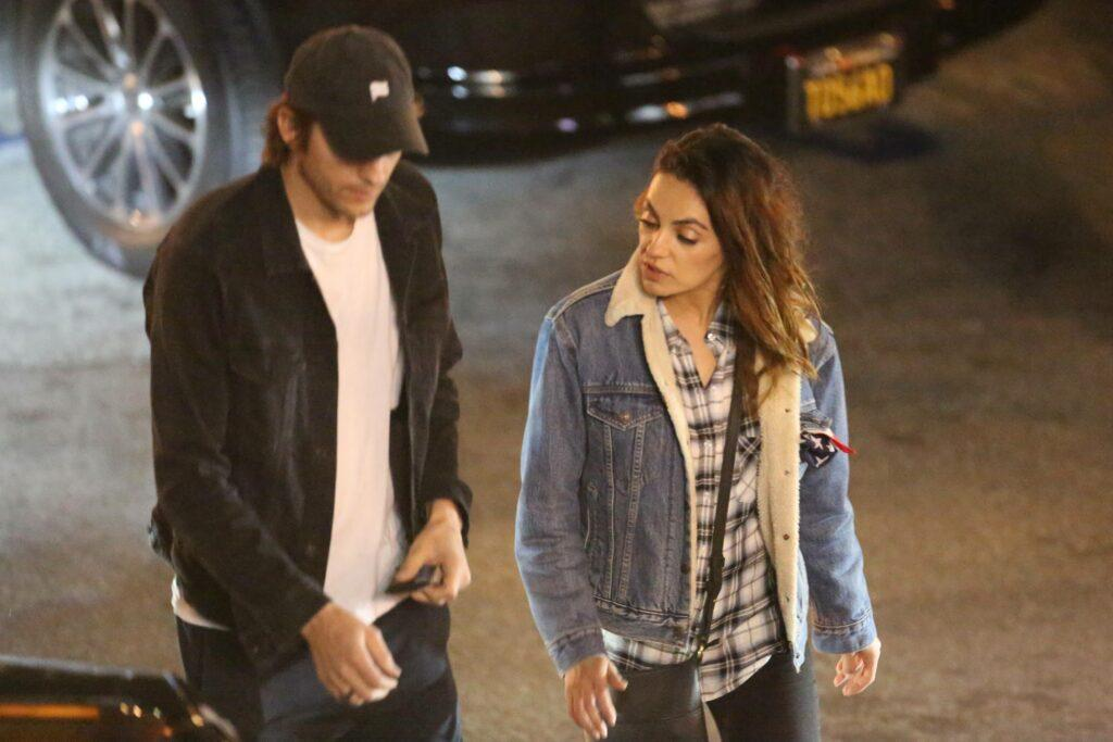Ashton Kutcher and Mila Kunis are seen leaving the Saddle Ranch in celebration for Scooter Braun apos s wife Yael Cohen becoming a U S citizen