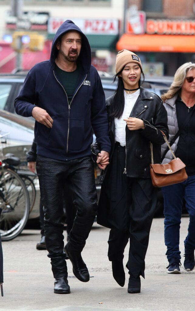 Nicolas Cage and girlfriend Riko Shibata use hand sanitizer after Coronavirus outbreak in NYC