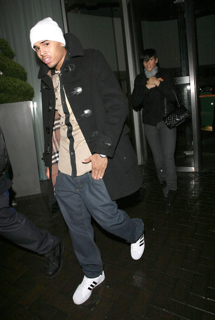 Rihanna and her boyfriend Chris Brown pictured together for the first time leaving the K West Hotel in Shepherd apos s Bush for an evening at Maya nightclub