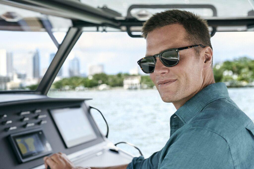 Tom Brady models eyewear for Christopher Cloos