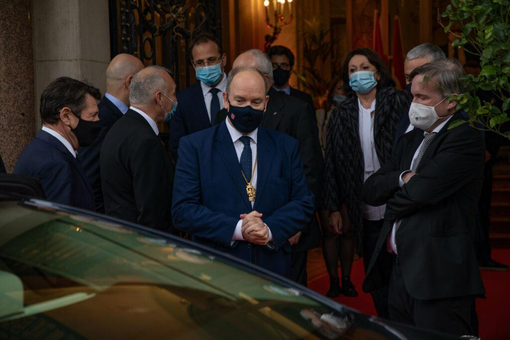 Prince Albert of Monaco arrives in Nice to receive the Golden Eagle jointly with Christian Estrosi the mayor of Nice