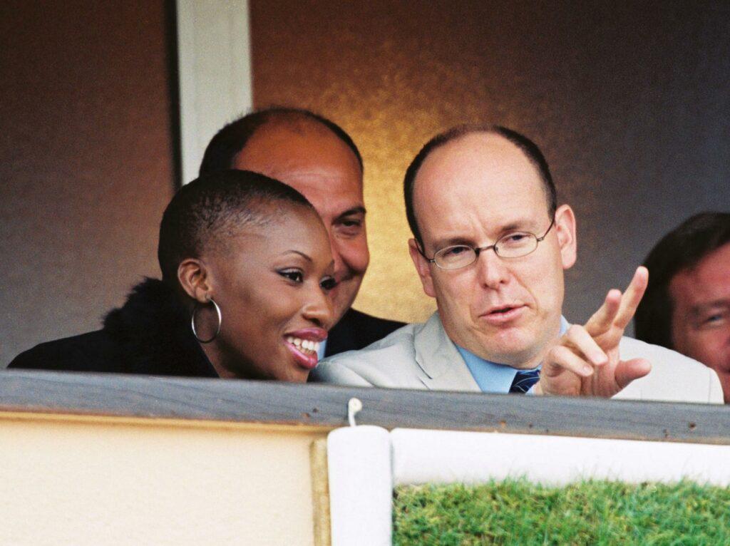 Prince Albert Grimaldi de Monaco spotted watching a match at the Monaco Tennis Open in April 2002 in Monaco with Nicole Coste mother of his son Alexandre Coste Grimaldi