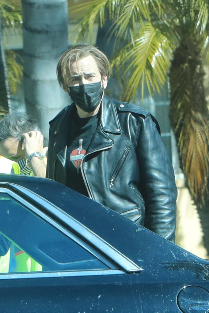 Nicolas Cage out filming in Beverly Hills