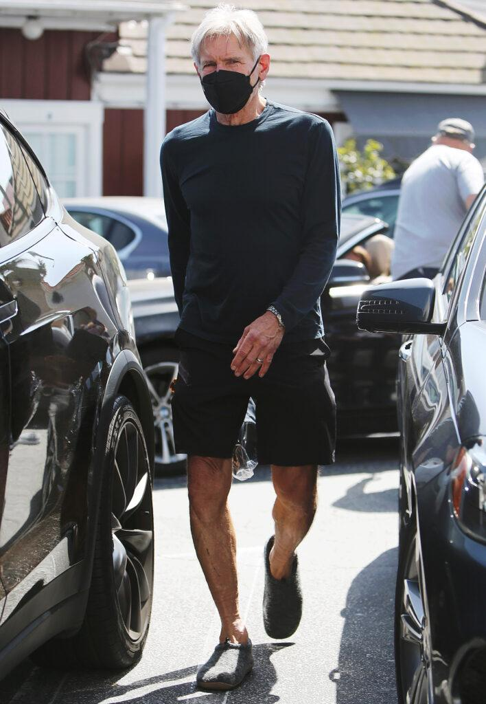Actor Harrison Ford running errands in confortable loafers at the Brentwood Country Mart in Los Angeles