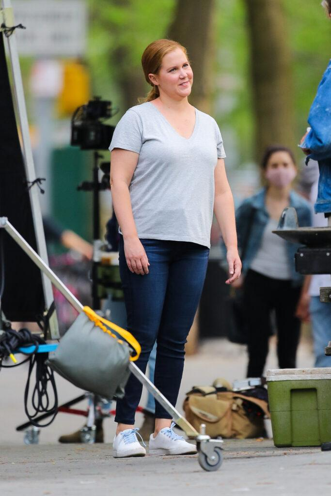 Amy Schumer and Michael Rapaport seen filming the Hulu comedy series Life amp Beth in New York City