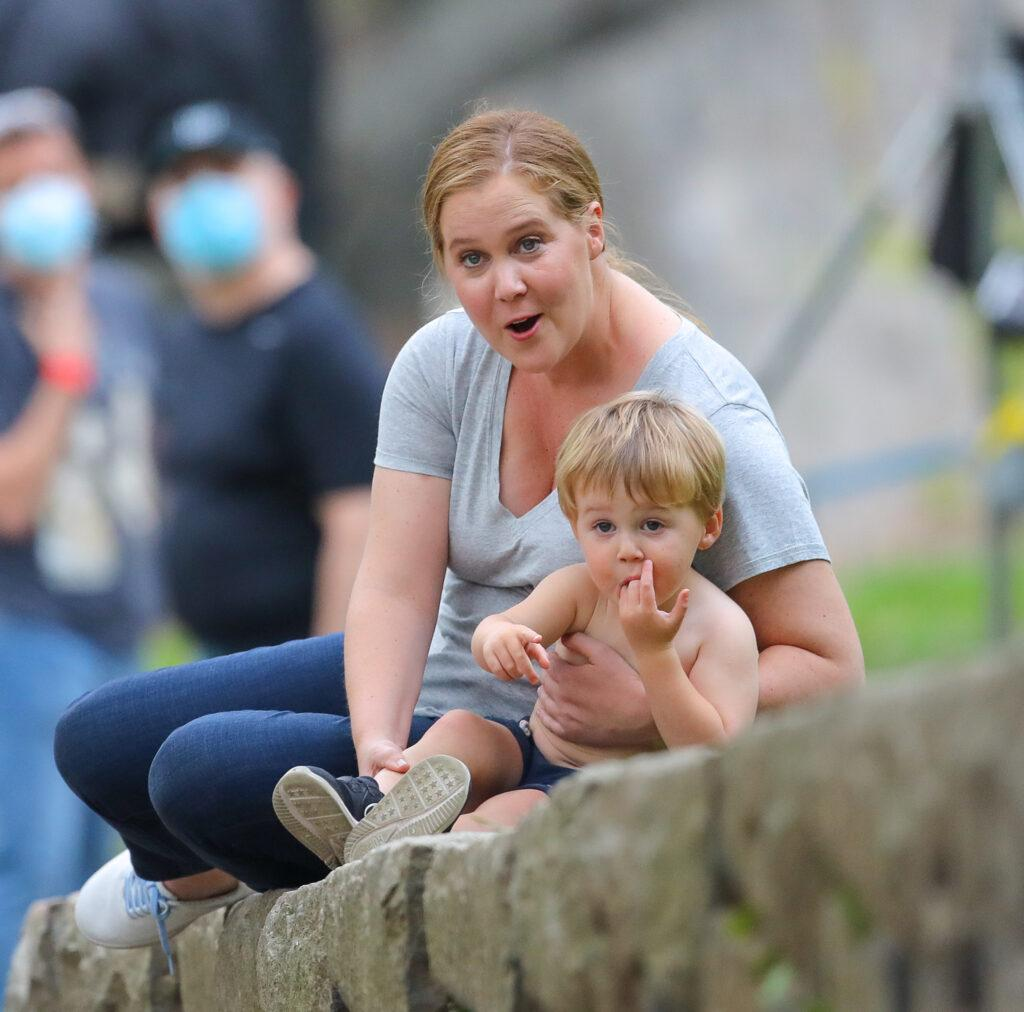 Amy Schumer seen with her son Gene David Fischer while on break from filming apos Life amp Beth apos in New York City