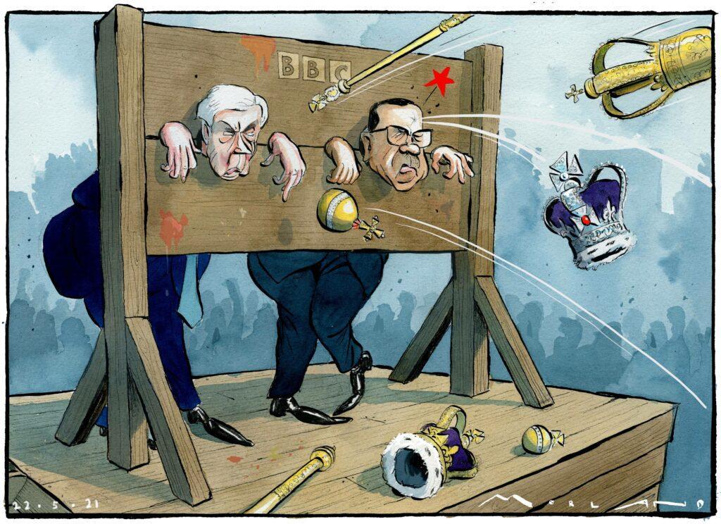 Morten Morland cartoon - BBC Princess Diana Interview Martin Bashir and Lord Hall in Stocks
