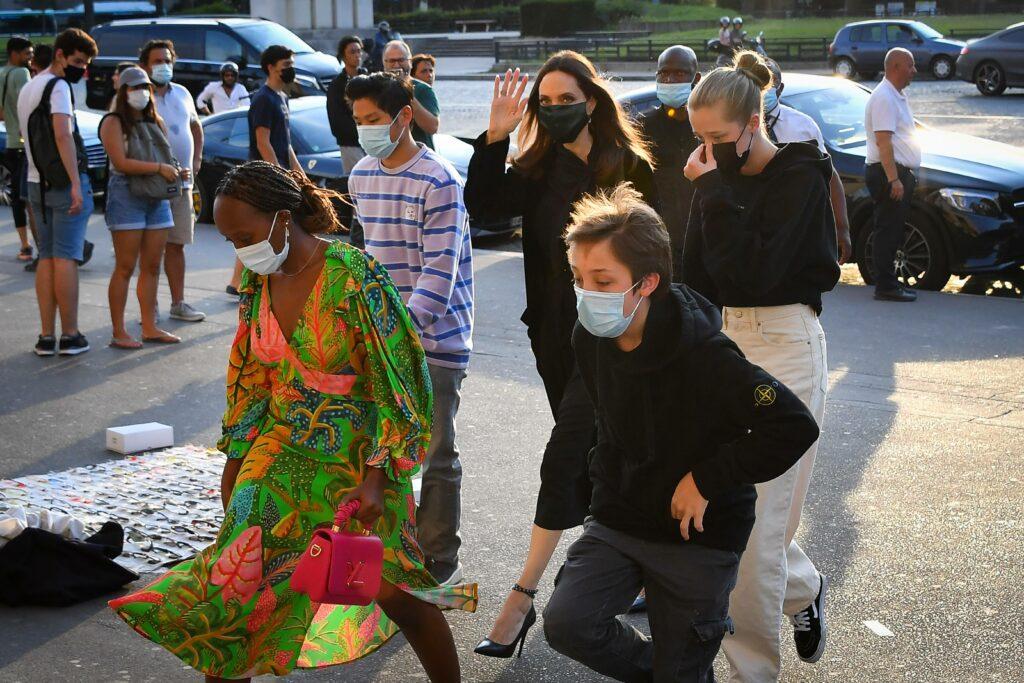 Angelina Jolie with her children Pax Shiloh Zahara and Knox arrive at La Girafe restaurant in Paris