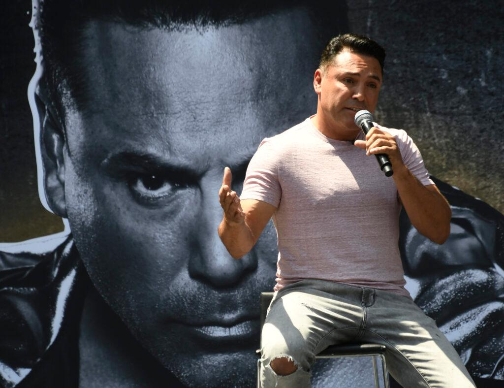 Oscar De La Hoya talks about his return to the boxing ring during a Los Angeles press conference at Staples Center Tuesday