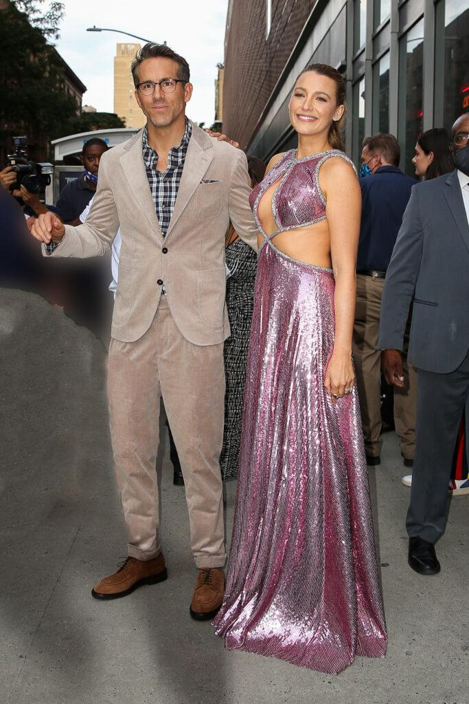 Blake Lively and Ryan Reynolds pose together while attending at the Free Guy Premiere in NYC