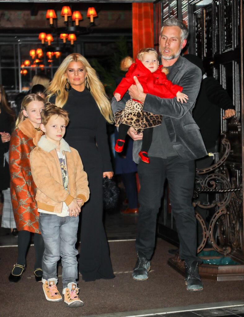 Jessica Simpson and Eric Johnson seen leaving with their kids in NYC on Feb 04 2020